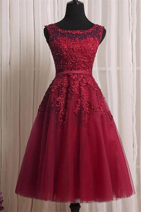 Red Lace Homecomning Dresses 2017 Cheap Sheer Short Prom Dress Gilrs Graduation Party Dress