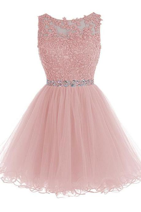 Pink Lace Homecoming Dresses 2017 Sheer Short Prom Dress Imported Party Dress Girls Graduation Dress