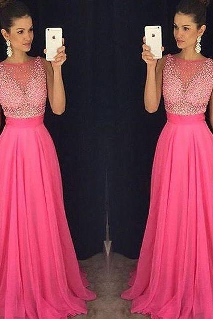 Sexy Beaded Sheer Evening Dresses 2018 A Line Robe De Soiree Formal Prom Dress Long Party Gowns