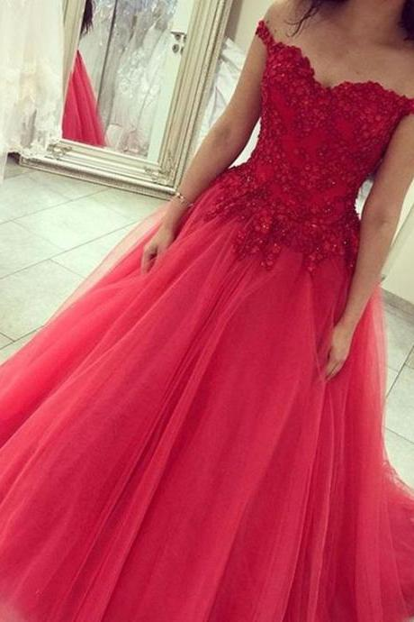 Red Off The Shoulder Prom Dresses 2018 Floor Length Beaded Lace And Tulle Formal Evening Dresses