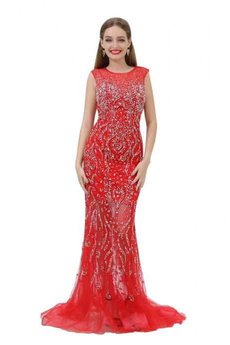 Red Prom Dresses 2018,Beaded Prom Dresses,Mermaid Formal Dresses,Women Evening Gowns