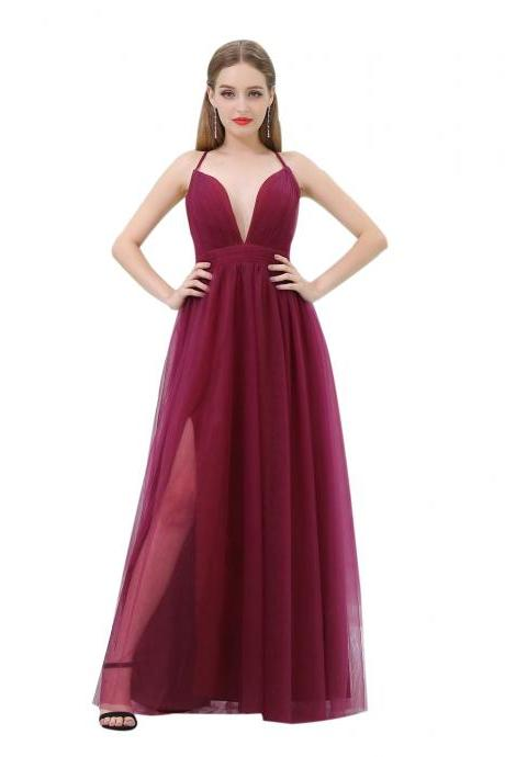 Cheap Burgundy Prom Dresses 2018 Deep V Neck Formal Women Evening Dresses Imported Party Dress