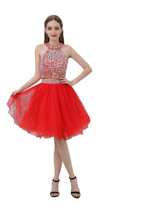 Red Beaded Embellished Halter Neck Two-Piece Homecoming Dress Featuring Short Tulle Dress