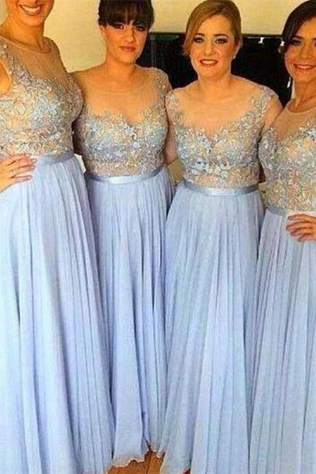 Chiffon Bridesmaid Dresses Sheer Maid Of Honor Dress Wedding Guest 2018
