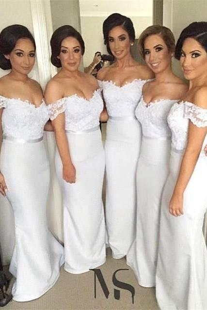 Mermaid Bridesmaid Dresses,Off The Shoulder Wedding Guest Dresses,Maid Of Honor Dresses 2018
