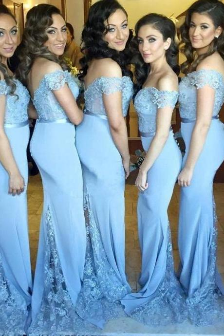 Light Blue Bridesmaid Dresses,Mermaid Bridesmaid Dresses,Off The Shoulder Wedding Guest Dress,Maid Of Honor Dresses