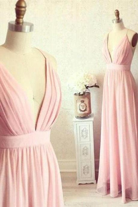 Blush Pink Bridesmaid Dresses,Deep V Neck Wedding Guest Dress,2018 Maid Of Honor Dresses