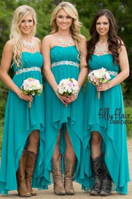 High Low Bridesmaid Dresses,Strapless Wedding Guest Dress,Country Maid Of Honor Dresses