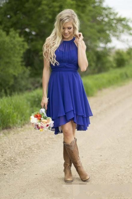 Royal Blue Halter Neck Chiffon Layered A Line Guest Wedding Dress, Maid of Honor Dress