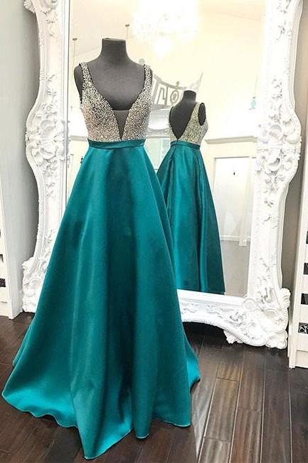 Plunging V Sleeveless Beaded A-line Long Prom Dress, Evening Dress