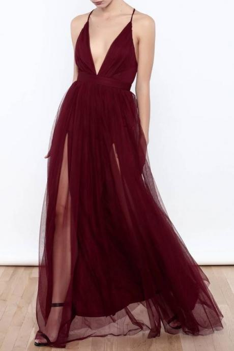 Burgundy Prom Dresses Deep V Neck Formal Dress Long Evening Gowns 2018