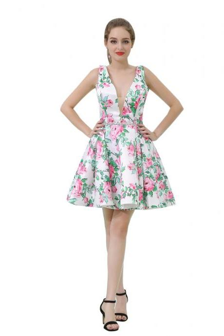 Short Floral Prom Dresses Deep V Neck Homecoming Cocktail Dress Party Gowns