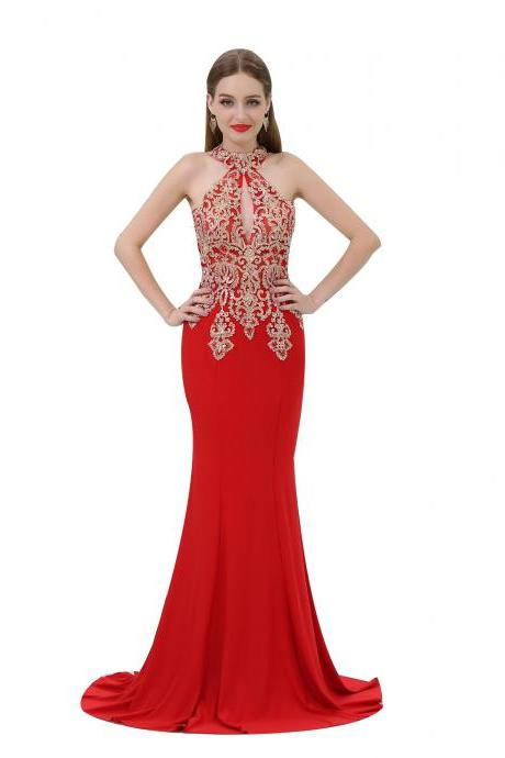 Red Prom Dresses,Mermaid Evening Dress,Beaded Formal Dress,Party Gowns