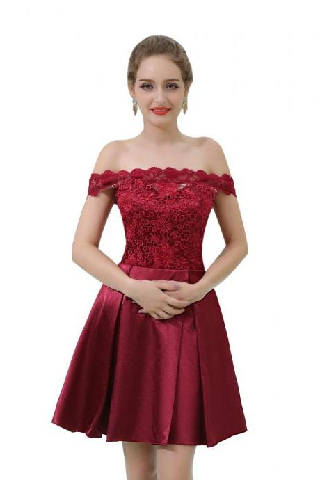 Burgundy Off The Shoulder Prom Dresses 2018 Short Homecoming Dress Cocktail Gowns