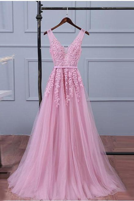 Pink Lace Prom Dresses,V Neck Evening Dress,Women Formal Dress,Banquet Gowns