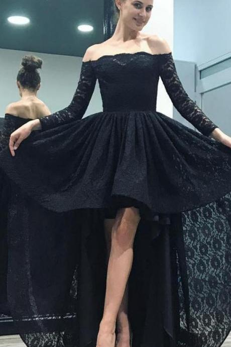 High Low Prom Dresses,Long Sleeve Evening Dress,Black Formal Dress,Lace Banquet Gowns
