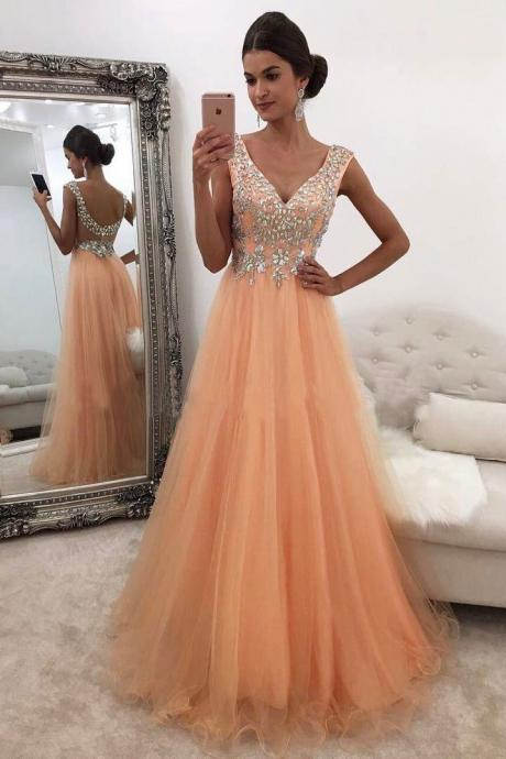 Beading Prom Dresses,V Neck Evening Gowns,Women Formal Dress,Banquet Gowns