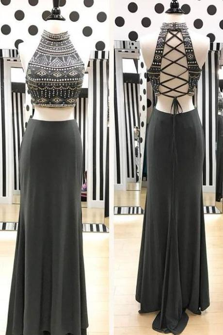 Two Piece Prom Dresses Long 2018 Beading Robe De Soiree Formal Women Evening Gowns