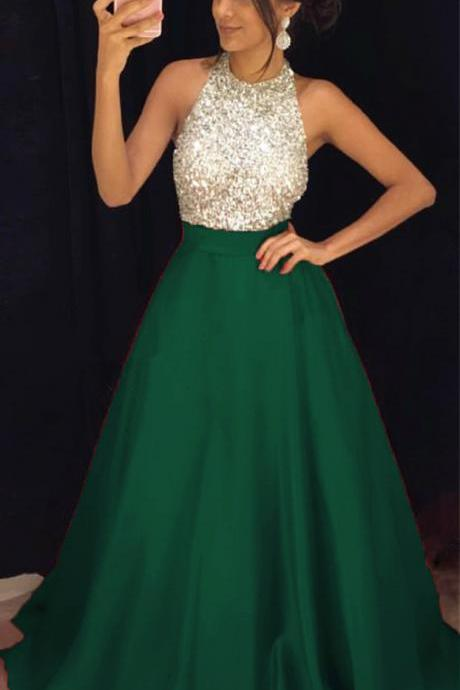 Dark Green Beading Prom Dresses 2018 Robe De Soiree A Line Evening Gowns Formal Dress