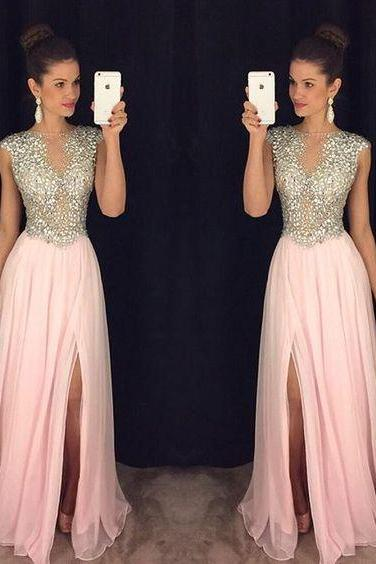 Pink Beading Prom Dresses,Prom Dress 2018,Formal Dress,Women Evening Gowns