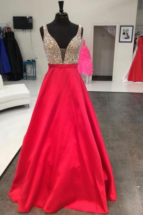 Red Prom Dresses,Beading Prom Dresses,Prom Dress 2018,Formal Dress,Evening Gowns,Banquet Dress
