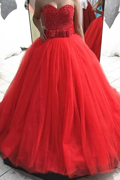 Sweetheart Prom Dresses,Red Prom Dress,Beading Prom Dress 2018,Formal Dress,Evening Gowns