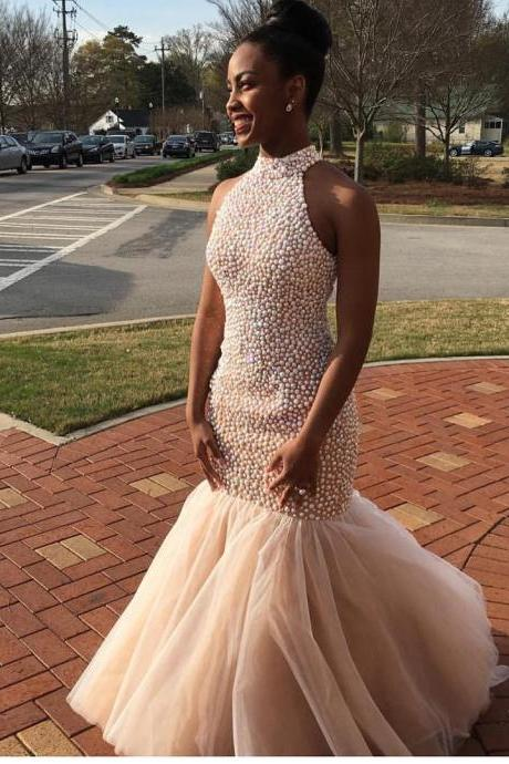 African Prom Dresses,Mermaid Prom Dress,Beading Evening Gowns,Women Formal Dress