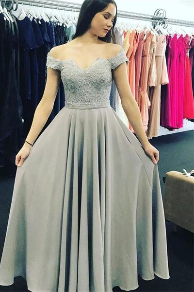 Modest Off The Shoulder Prom Dresses 2018 A Line Long Evening Gowns Women Formal Party Dress