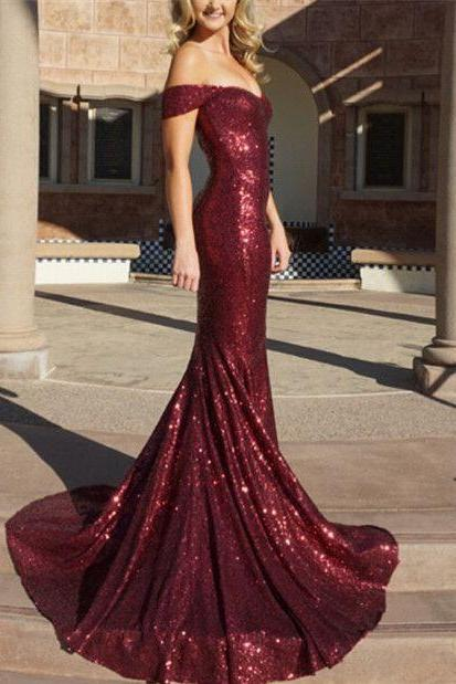 Burgundy Mermaid Prom Dresses,Off The Shoulder Prom Dress,Sequin Evening Gowns,Formal Dress 2018,Party Dress