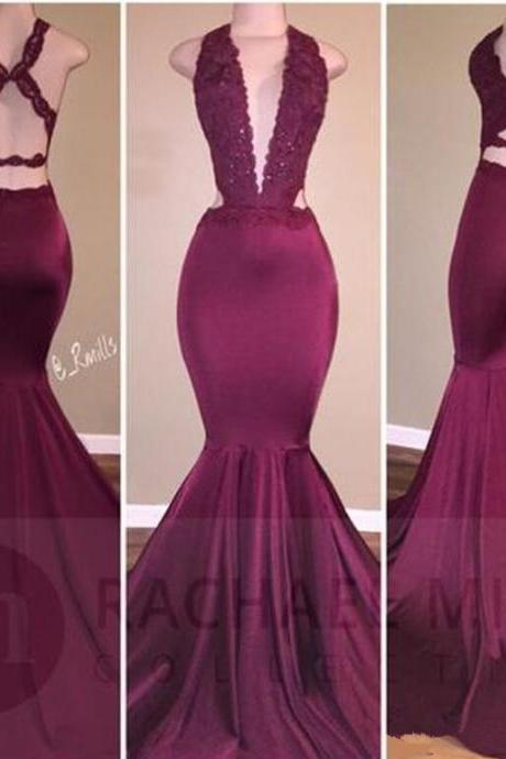 Burgundy Mermaid Prom Dresses 2018 Long Evening Gowns Deep V Neck Formal Party Dress