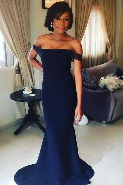 Navy Prom Dresses,Off The Shoulder Prom Dress,Mermaid Formal Dress,Evening Gowns,Vestido De Festa