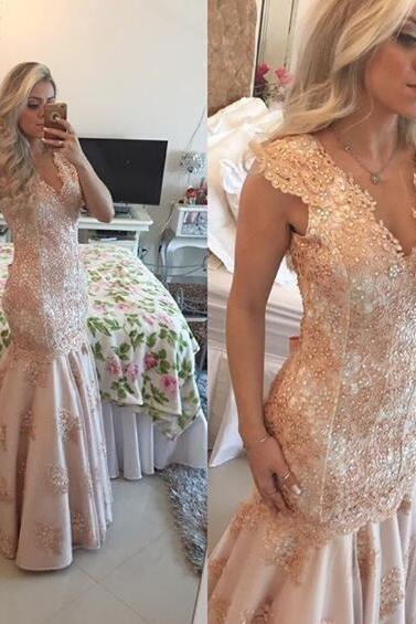 Mermaid Evening Dresses,Lace Prom Dresses,V Neck Formal Gowns,Banquet Dress,Party Dress 2018