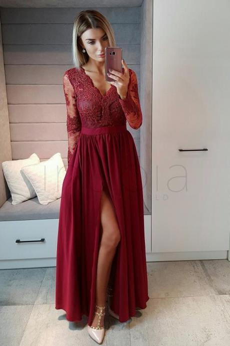 Burgundy Prom Dresses,Long Sleeve Prom Dress,Floor Length Evening Gowns,Women Formal Dress,Banquet Dresses