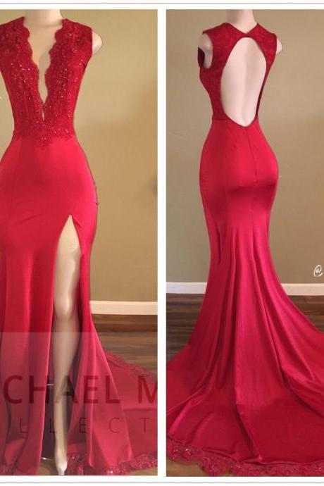 Red Deep V Neck African Mermaid Prom Dresses 2018 Evening Gowns Floor Length Women Formal Party Dress