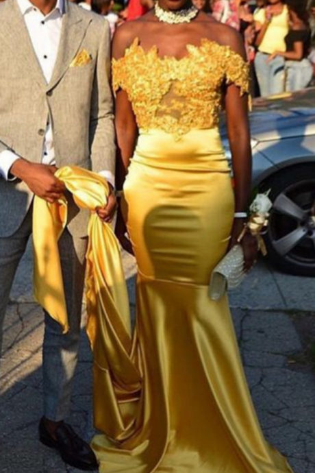Gold African Mermaid Prom Dresses 2018 Off The Shoulder Evening Dress Long Women Formal Gowns