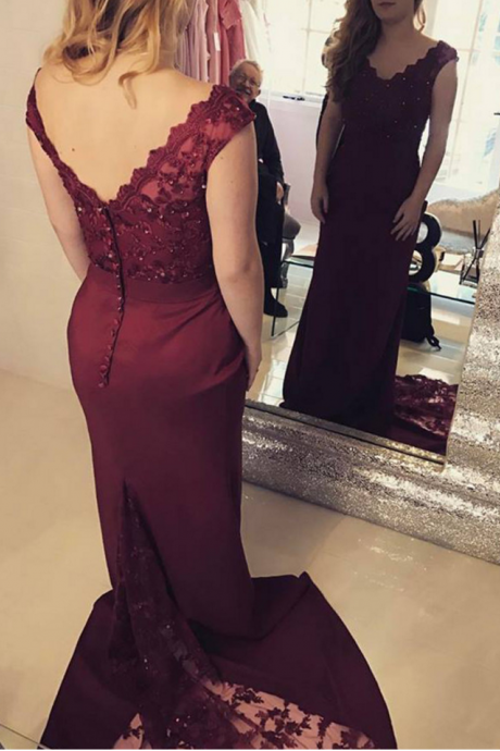 Burgundy Mermaid Prom Dresses Long 2018 Women Evening Gowns Formal Party Dress