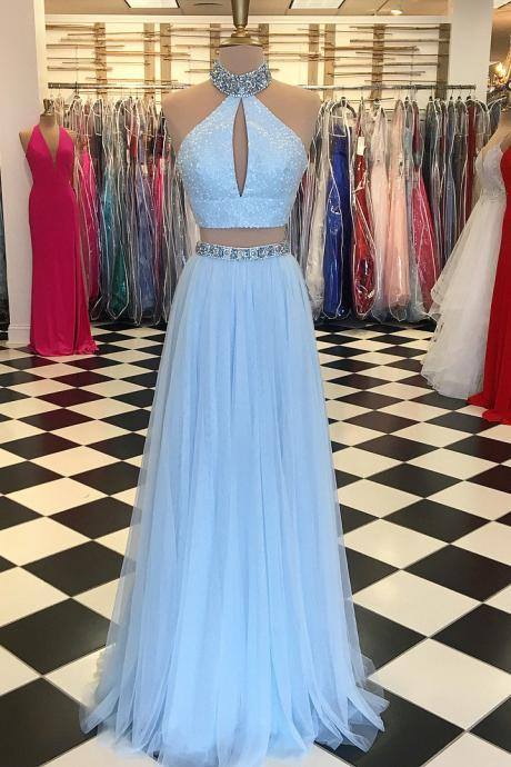 Sky Blue Two Piece Prom Dresses 2018 Real Photos Floor Length Evening Gowns A Line Formal Party Dress