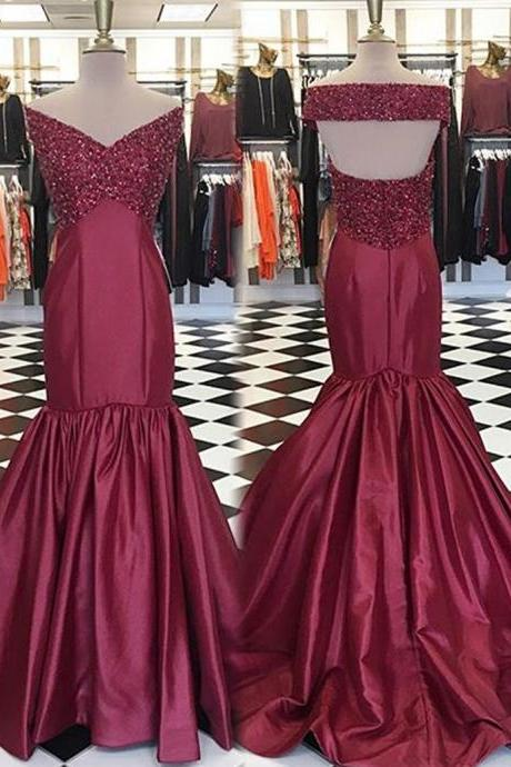 Burgundy Mermaid Prom Dresses Long 2018 Evening Gowns Off The Shoulder Formal Party Dress