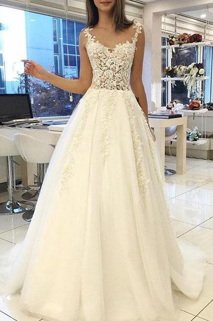 Cheap Lace Wedding Dresses 2018 Floor Length Sheer Bridal Gowns Custom Made Bridal Dress