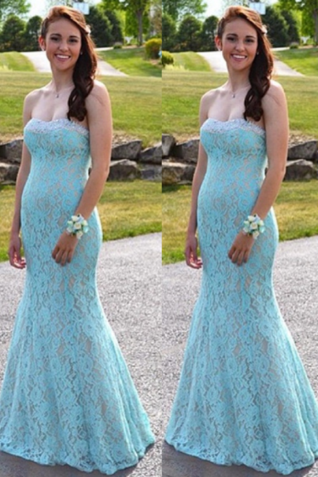 Lace Prom Dresses,Mermaid Prom Dress,Strapless Evening Gowns,Formal Dress,Banquet Dress,Prom Dress 2018