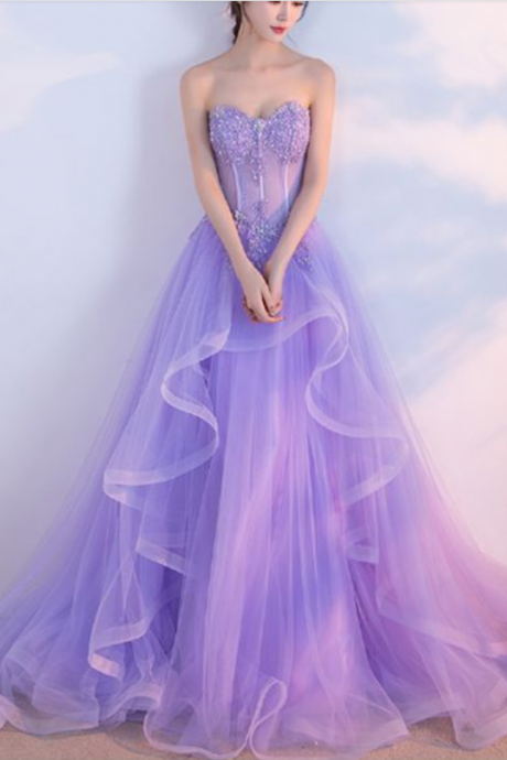 Modest Lavender Sweetheart Prom Dresses Long 2018 A Line Evening Gowns Formal Party Dress