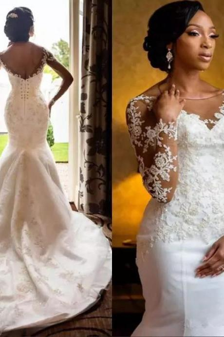 African Mermaid Wedding Dresses,Long Sleeve Wedding Dress 2019,Handmade Bridal Gowns,Sheer Weddings Dress