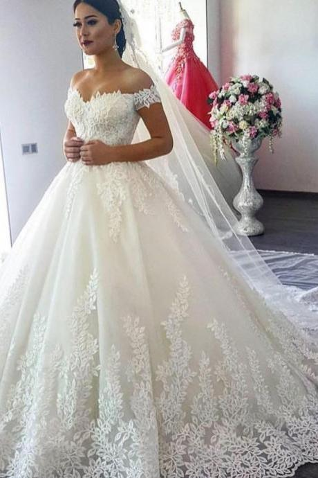 Elegant Ball Gown Wedding Dresses,Off The Shoulder Wedding Dress,Handmade Bridal Dress,Wedding Dress 2019