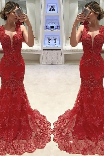 Red Mermaid Prom Dresses 2019 Cap Sleeve Lace Special Occasion Dress Custom Made robe de soiree Formal Gowns