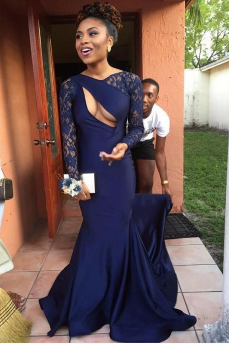 Dark Navy Blue Mermaid Prom Dresses 2019 African Long Sleeve Formal Dress Sexy robe de soiree Special Occasion Gowns