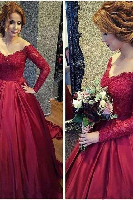 Red Long Sleeve Prom Dresses,Ball Gown Prom Dress 2019,Special Occasion Dress,Formal Evening Gowns