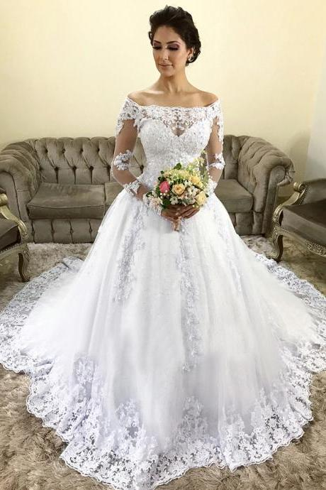 Vintage Long Sleeve Wedding Dresses,Wedding Dress 2019,A Line Lace Bridal Gowns,Custom Made Bridal Dress