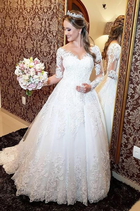 Long Sleeved Lace Wedding Dresses,A Line Bridal Gowns,Handmade Wedding Dress 2019,vestido de noiva