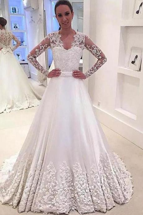 Modest Long Sleeve Wedding Dress,A Line Bridal Gowns,Wedding Dress 2019,robe de mariee