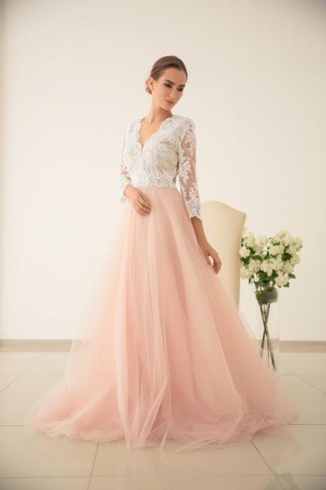 Blush Pink Prom Dresses 2019,Lace Prom Dress,Long Sleeve Formal Dress,Special Occasion Dress,Evening Gowns